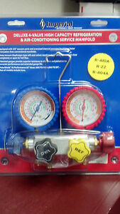 Imperial Gauge Set Deluxe 4 valve High Capaity R410a R22 R404a Model 845c