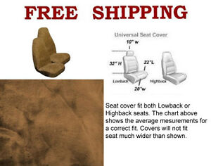 New 2 Front Synthetic Sheep Skin Sheepskin Car Truck Seat Cover Beige Tan