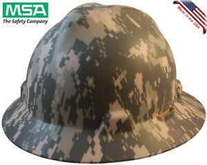 Msa Full Brim Camoflauge Hard Hat Acu Design Ratchet Suspension