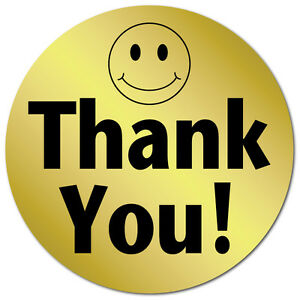 1 Inch Circle Thank You Smiley Face Gold Foil Roll Of 1 000 Stickers