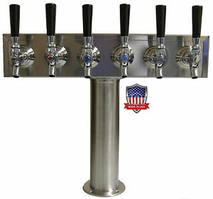 Stainless Steel Draft Beer Tower Made In Usa 6 Faucets Air Cooled Tt6cr