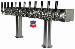 Stainless Steel Draft Beer Tower Made In Usa 12 Faucets Air Cooled pt12ss