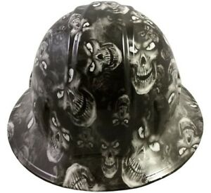 Hydro Dipped Full Brim Hard Hat With Ratchet Suspension hades Skulls White