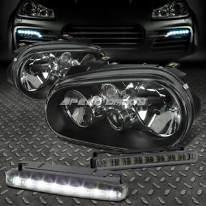 Black Housing Clear Headlight Corner Smoked Led Fog Light For 99 04 Vw Golf Mk4