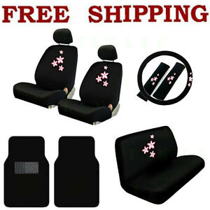 New Spring Pink Flowers Car Seat Covers Steering Wheel Cover Floor Mats Set