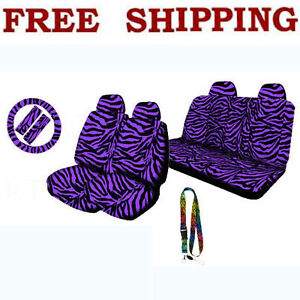 Purple Zebra Print Set Front Rear Seat Covers Steering Wheel Cover