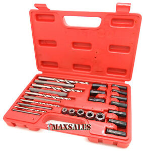 25pc Screw Extractor Set Drill Guide Extract Stripped Broken Bolt Fastener Case