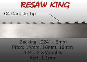 1 X 12 14 16mm Vari Tooth Pitch X 114 Resaw King Carbide Tipped Bandsaw Blade