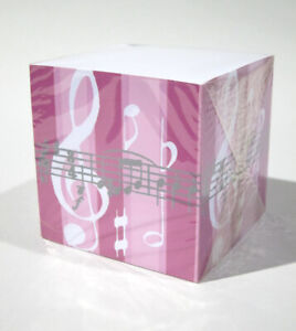 Pink Cube Music Clef Note Pad Post Stationery Gift W Pen Holder 850 Sheets