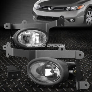 For 06 08 Honda Civic Coupe Clear Lens Bumper Driving Fog Light Lamps W Switch