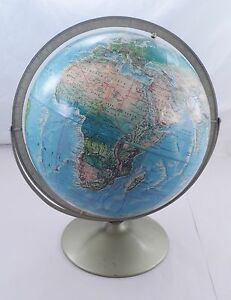 1960s Rand Mcnally Topographical World Portrait Globe W Metal Stand Swivel Axis