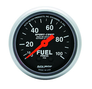 Auto Meter Sport Comp 100 Psi Mechanical Fuel Pressure Gauge 2 1 16 52mm