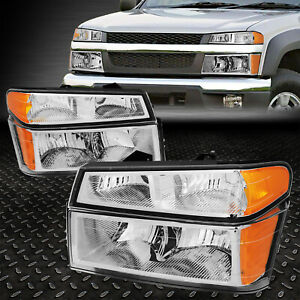 For 2004 2012 Colorado canyon Chrome Housing Amber Corner Headlight bumper Lamps