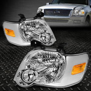 For 2006 2010 Ford Explorer Pair Chrome Housing Amber Corner Headlight Lamp Set