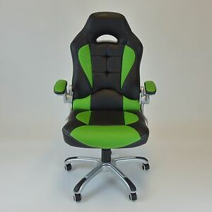 Racing Style Swivel Chair Computer Desk Chair Lumbar Support Reclining Green