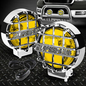 6 round Chrome Housing Yellow Fog Light offroad Super 4x4 Guard Work Lamp switch