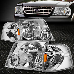 For 02 05 Ford Explorer Chrome Housing Amber Corner Headlight Replacement Lamps