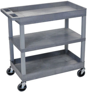 Luxor Ec121 32 X 18 inch Gray Plastic 2 Tub And 1 Flat Shelf Roll Utility Cart