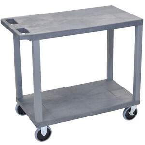 Luxor Ec22hd g 32 X 18 inch Gray Plastic Multi purpose 2 Flat Utility Cart