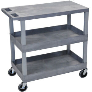 Luxor Gray Ec211 g 32 X 18 inch Gray Plastic 2 Tub And 1 Flat Shelf Utility Cart