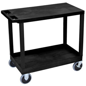 Luxor Ec21hd b 32 X 18 inch Black Plastic 1 Tub And 1 Flat Shelf Utility Cart