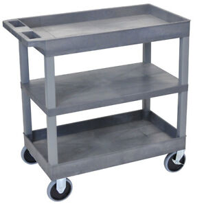 Luxor Ec121hd 32 X 18 inch Gray Plastic 2 Tub And 1 Flat Shelf Roll Utility Cart