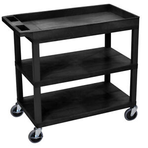 Luxor Ec122 b 32 X 18 inch Black Plastic 2 Tub And 1 Flat Shelf Utility Cart