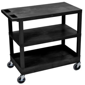 Luxor Ec221 b 32 X 18 inch Black Plastic 1 Tub And 2 Flat Shelf Utility Cart