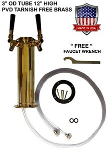 Double Faucet 3 Brass Draft Beer Tower Pvd Tarnish Free Brass D4743dtbr