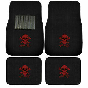 Brand New Red Skull Logo Car Truck Suv Van Front Rear Carpet Floor Mats