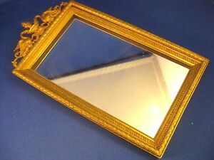 French Dore Bronze Griffon Gilt Mirror 9 1 8 Tall By 5 Wide