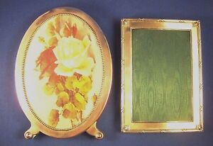 Sterling Silver Oval Rectangle Picture Frames As Is Pair Missing Stand