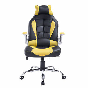 Homcom Pu Office Chair Racing Adjustable Recliner Computer Desk Seat W Pillow