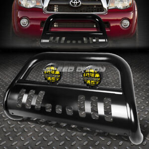 Black 3 Bull Bar Grille Guard Yellow Fog Light For 05 15 Toyota Tacoma 2wd 4wd