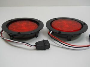 4 Round Red 10 Led Brake Stop Turn Tail Lights 5 5 Black Plastic Flange Mount