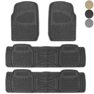 New 3 Rows Front Middle Rear Heavy Duty Van Rubber Floor Mats Liners 4pc Set