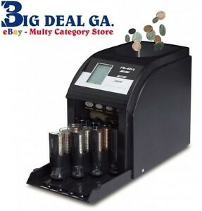Commercial Electronic 4 Row Digital Coin Sorter Change Counter New Fast Sort