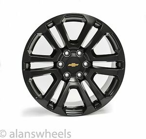 4 New Chevy Suburban Tahoe Satin Black Gold Bowtie 20 Wheels Rims Lugs Ck158