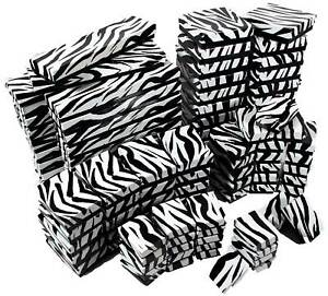 100 Assorted Zebra Print Cotton Filled Gift Boxes