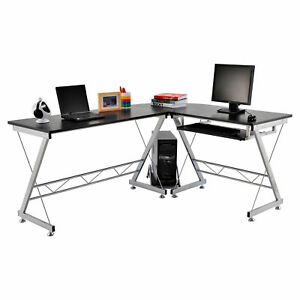 Homcom 3pc L shaped Corner Desk Student Computer Workstation Home Office Black