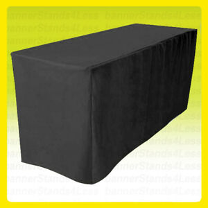 8 Fitted Table Cover Tablecloth Throw Wedding Banquet Trade Show Black