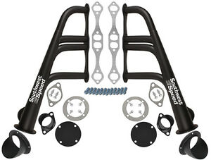 New Lake Style Headers With Turnouts Black Sbc 265 400 V 8 Chevy Hot Rod Street