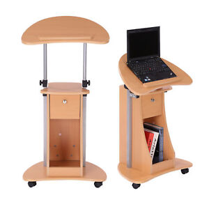 Homcom Adjustable Laptop Computer Desk Rolling Workstation Storage Shelf Drawer