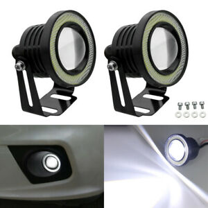 2x 2 5 20w Cob Led Fog Light Projector Car White Halo Angle Eyes Ring Bulb