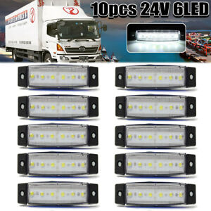 10pcs White 24v 6led Side Marker Indicators Lights Lamp Bar Truck Trailer Lorry