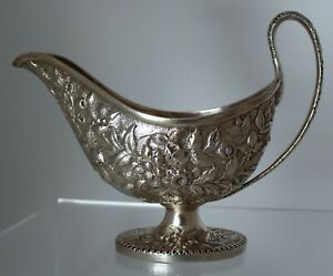 S Kirk Son Coin Silver Repousse Sauce Gravy Boat 1846 1868 900 1000 Sterling