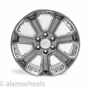 4 New Chevy Suburban Tahoe Gun Metal Chrome Inserts 20 Wheels Rims Lugs 5660