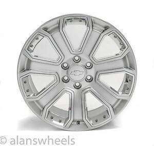 4 New Chevy Suburban Tahoe Hyper Silver Chrome Inserts 22 Wheels Rims Lugs 5660