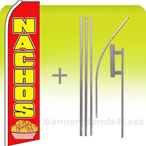 Nachos Swooper Flutter Feather Flag Mexican Food Banner Sign 15 Kit Rf