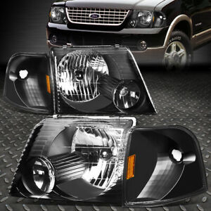 For 02 05 Ford Explorer Black Housing Amber Corner Headlight Replacement Lamps